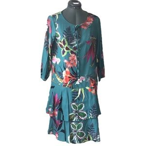Made in Italy Three-Quarter Sleeve Floral Tiered M